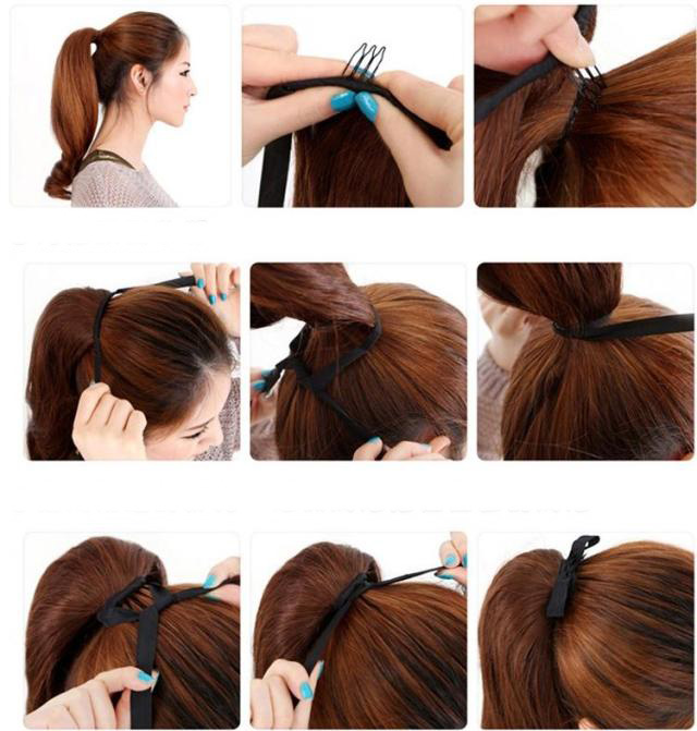 UK Ship Best Feel Clip In ON Ponytail Pony Tail Hair Extension Straight Curl New
