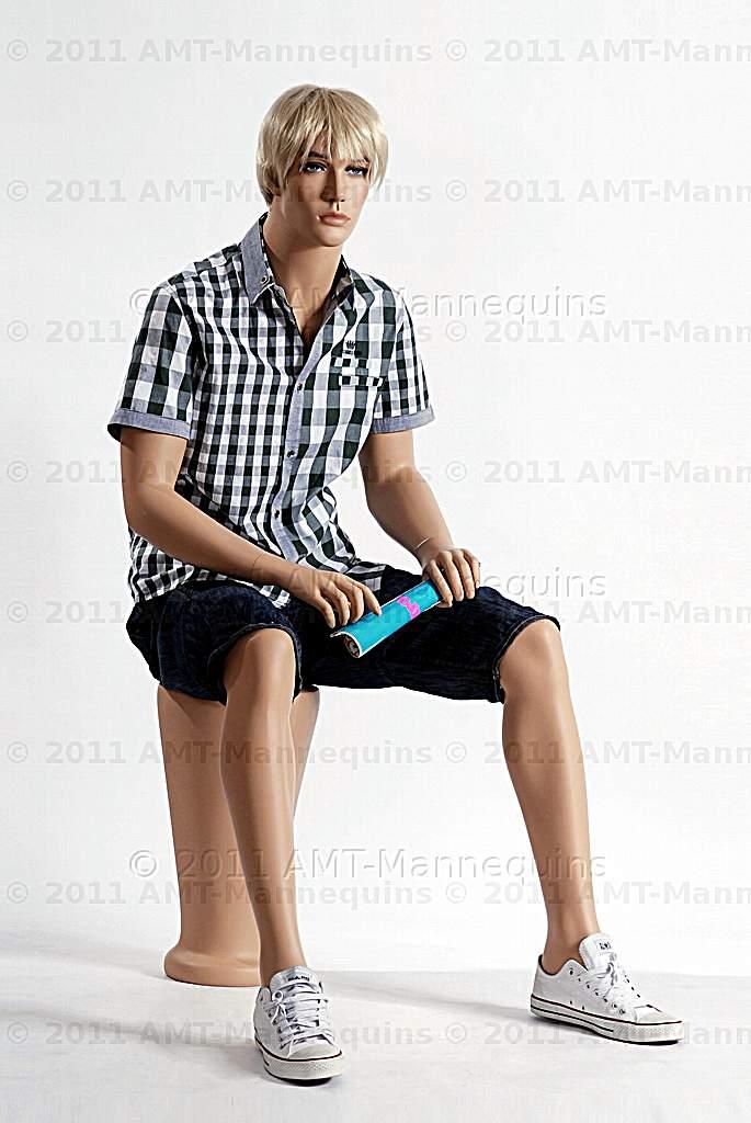 hand made manikin Male full body mannequin sitting Roger+1 Pedestal+1 wig