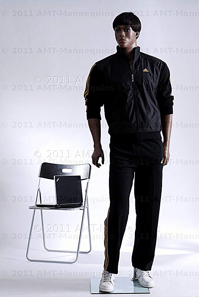 Male Full Body Mannequins African American Display Manikin Andy 1 Wig