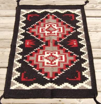 Navajo Indian Design Two Grey Hills Wool Rug 2x3