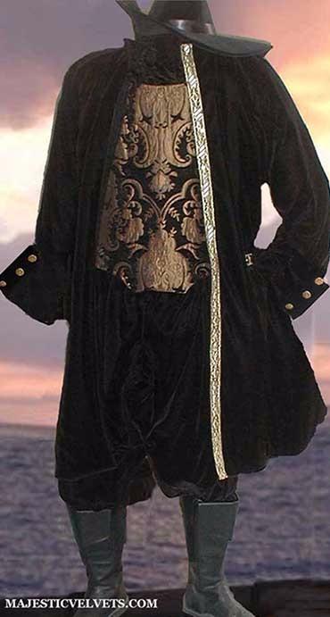 3 Pc Renaissance Velvet Jacket Doublet Pants Mens Pirate
