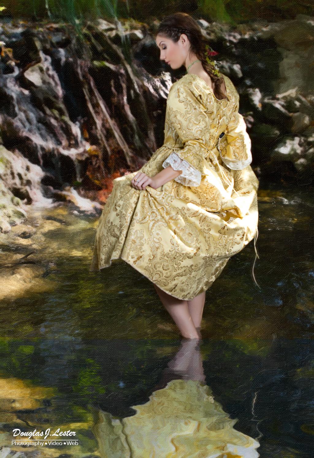 Gallery Yellow Jacquard Dress