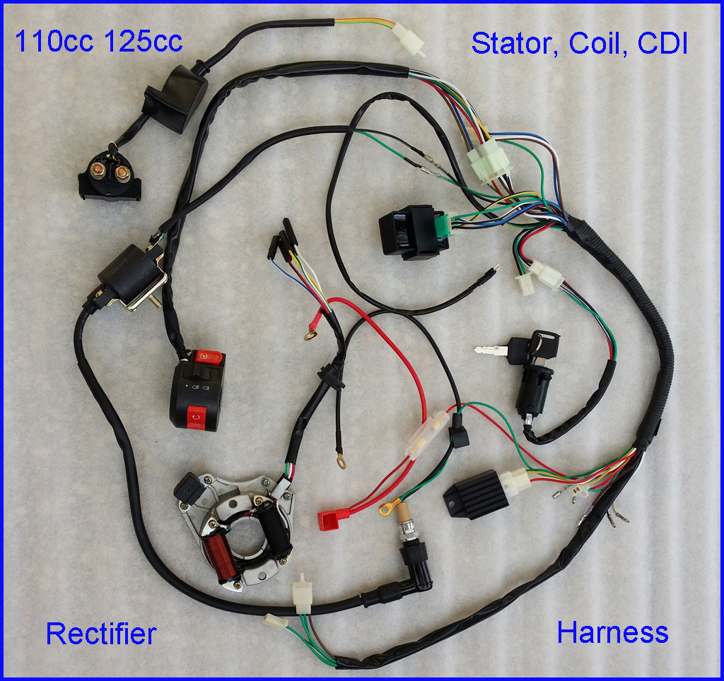 110cc complete wire harness wiring cdi assembly atv quad go kart, Wiring diagram
