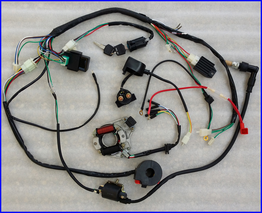 49cc 2 Stroke With Electric Starter Wiring Diagram Trusted Apc Harness Complete Electrics Atv Stator 50cc 70cc 110cc 125cc Cdi 24v Scooter Gy6
