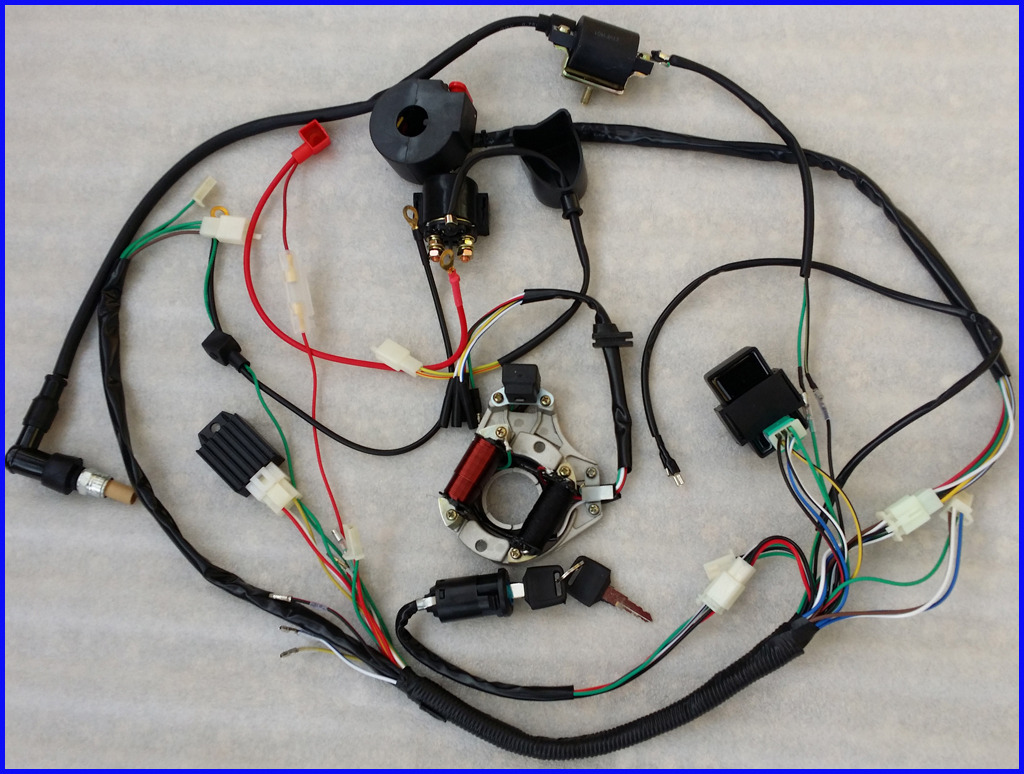 Full electrics wiring harness cdi coil 110cc 125cc atv quad bike categories asfbconference2016 Image collections