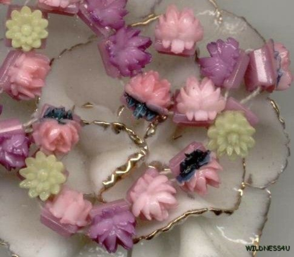 Rare VINTAGE GUILLOCHE Enamel Roses 2 hole Antique Doll Buttons Beads Sew ons