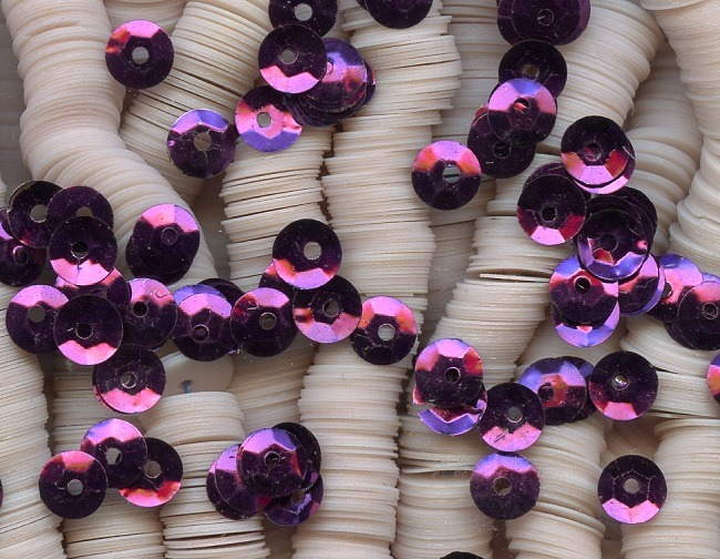 FRENCH ANTIQUE METAL SEQUINS SILVER MICRO 4mm FLUTED COUTURE Spacers DOLL SIZE