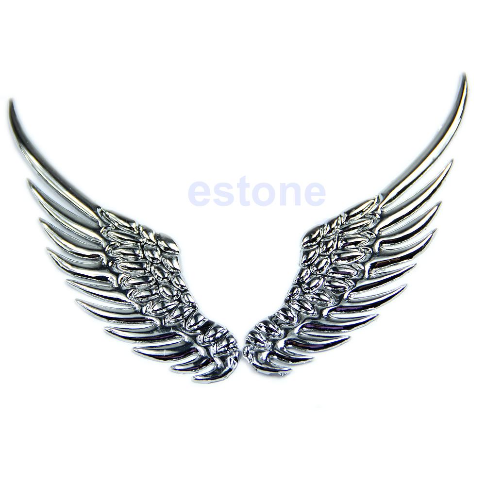 3d Alloy Metal Silvery Angel Wings Car Emblem Badge Logo Sticker