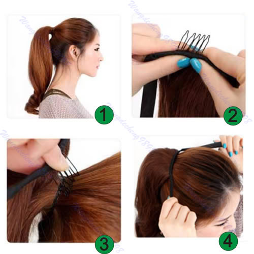 how to tie a long hair in different styles wavy curly ponytail clip scrunchie hair 5019 | D2489 4