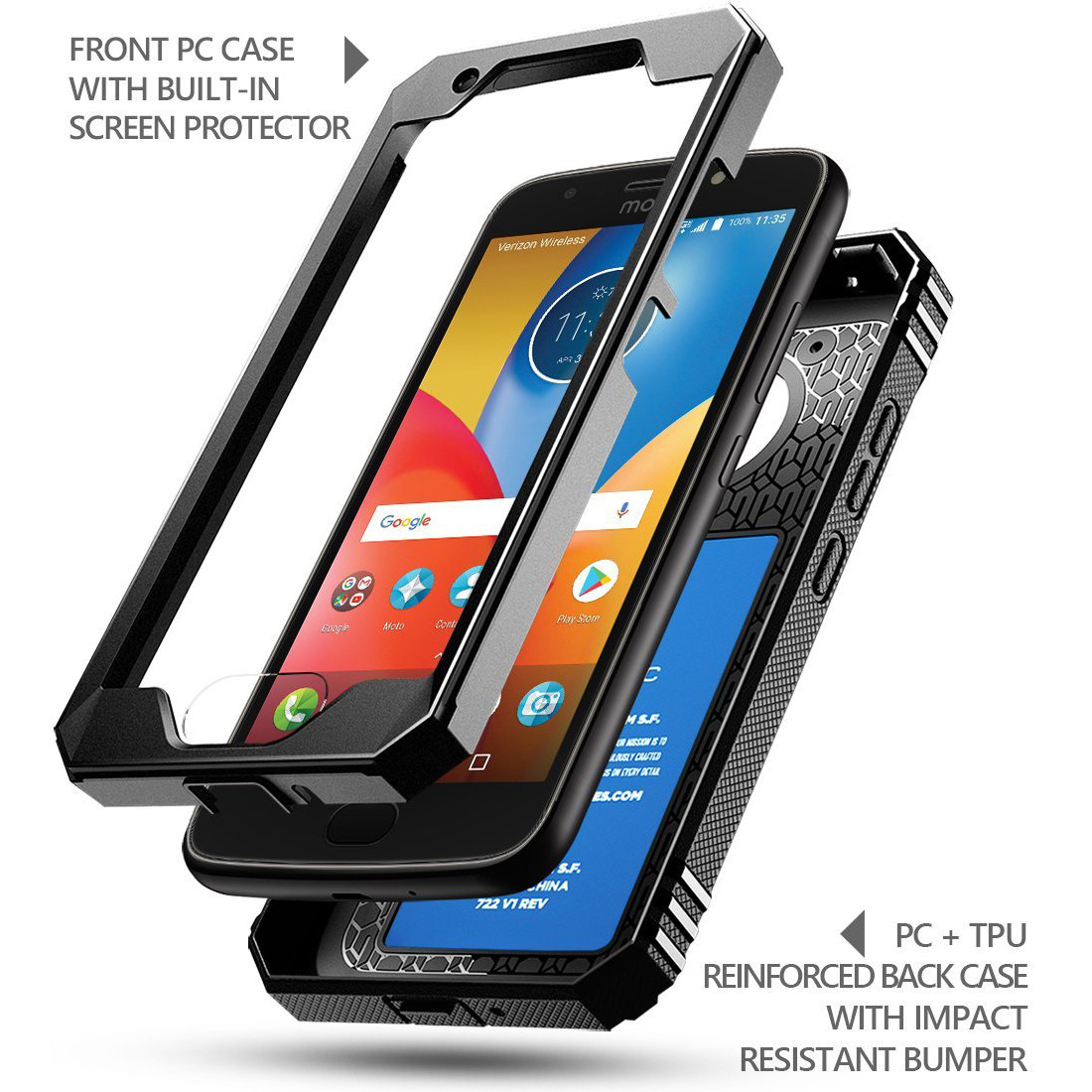 the best attitude 07097 6f327 Details about Poetic Revolution【360 Degree Protection】Case For Motorola  Moto E4 Plus Black