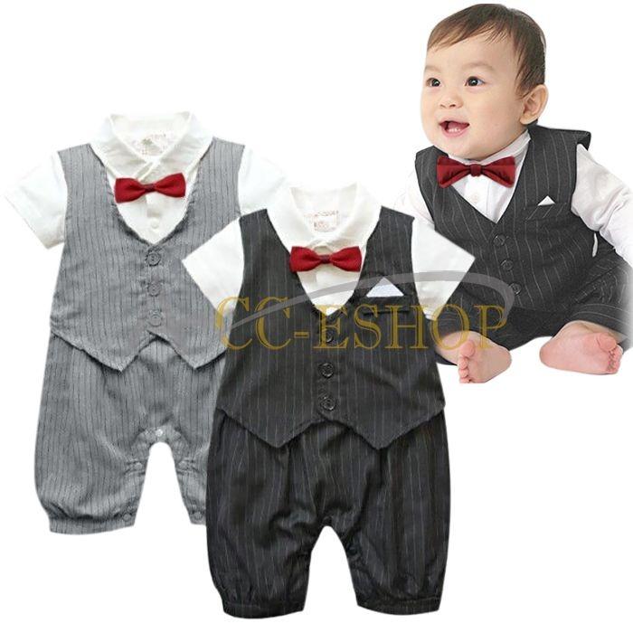 Tuxedo Gentleman Baby Jungen Strampler Anzug Taufe Smoking Hochzeit