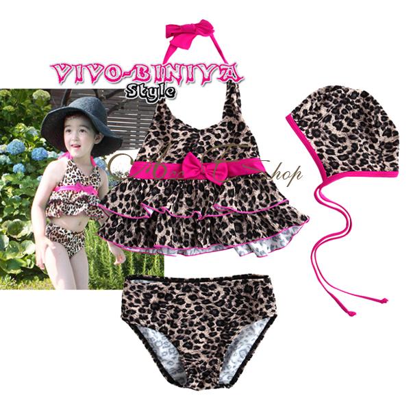Girls Baby Size 2 6 Leopard Halter Tankini Bikini Swimsuit Swimwear Swim Costume