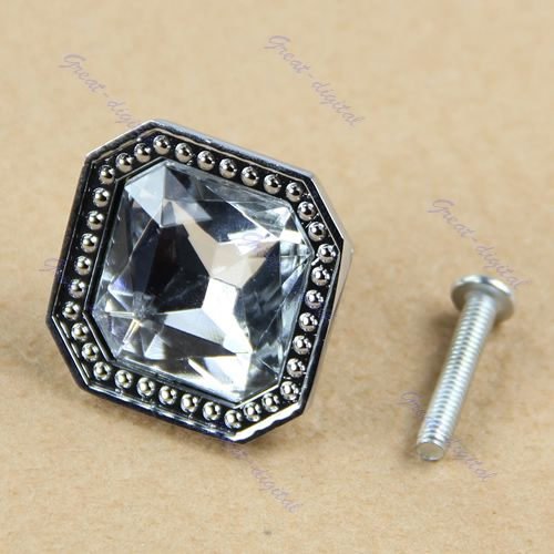 Square Cabinet Knob Crystal Glass Cupboard Drawer Door