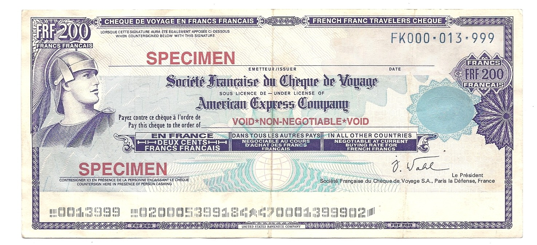 SPECIMEN CHECK TRAVELERS CHEQUE FRANCE 200 FRANCS UNC TDLR THOMAS COOK *//*