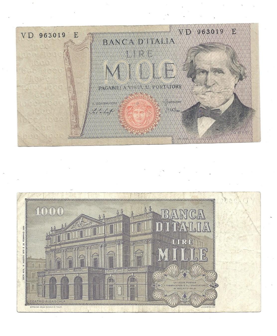 1979 P 101 AUNC ABOUT UNC ITALY 1000 1,000 LIRE 1969