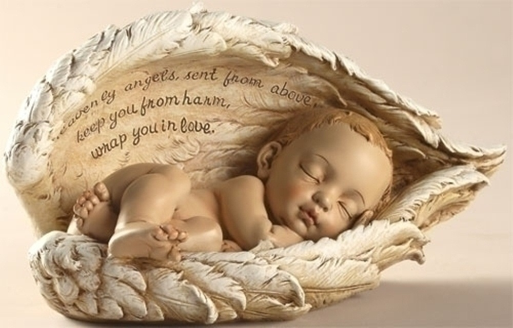 Sleeping Baby Angel Wings Infant Miscarriage Memorial | eBay