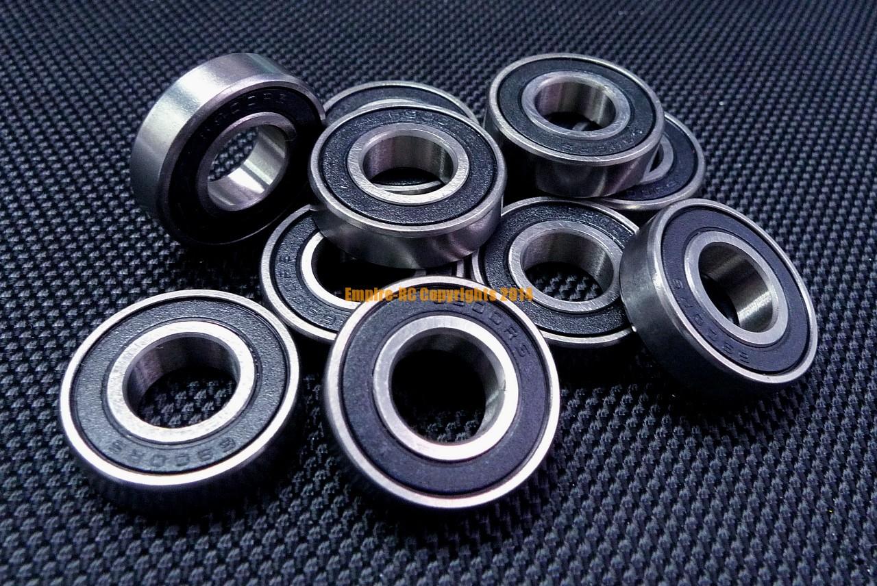 """1//2/"""" x 1-1//8/"""" x 5//16/"""" 10pcs R8-2RS Black Rubber Ball Bearing Bearings R8RS"""