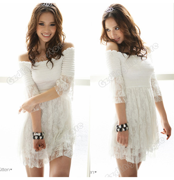 07482761e8a Sexy Women Off Shoulder Layer Lace Top Mini Dress #006 on PopScreen