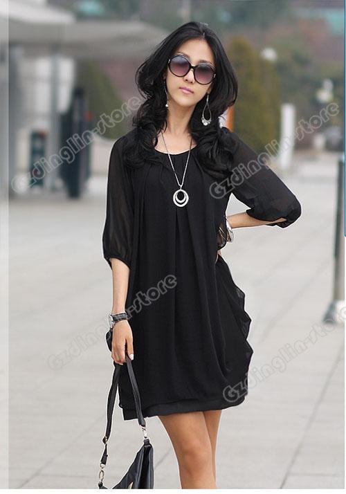 Wholesale Elegant Retro Section Cultivating Long Chiffon Dress--- black top dresses.