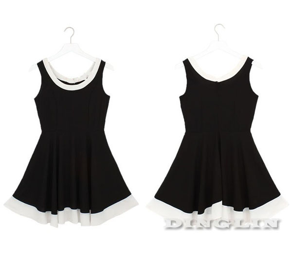 Korea Women Sexy Round Neck Long Sleeve Mini Dress #096
