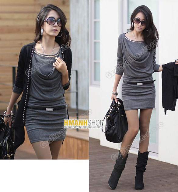 Womens Lady Long Sleeve Cotton Casual Mini Dress 094.