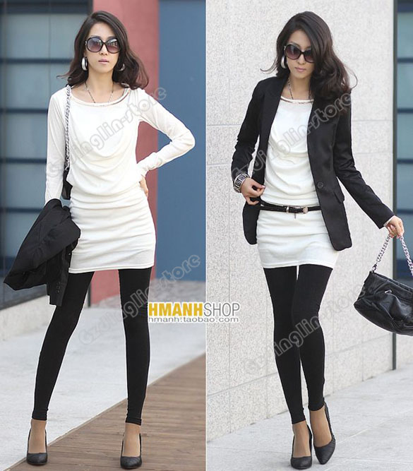 Womens Lady Long Sleeve Cotton Casual Mini Dress #094