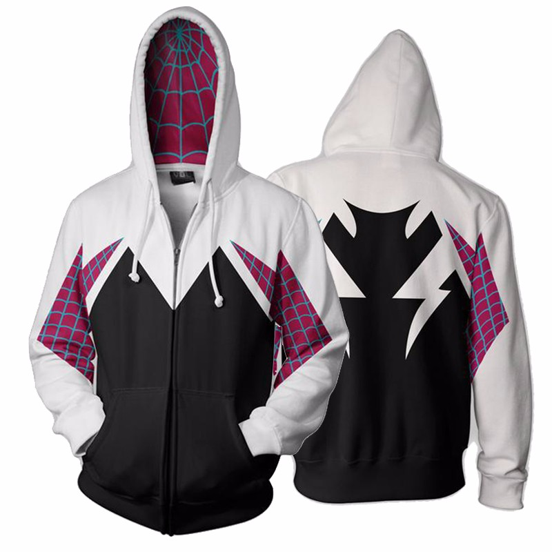 3D Cosplay Spider-Man Sweater Hoodie Fashion Costume Zipper Jacket Coat