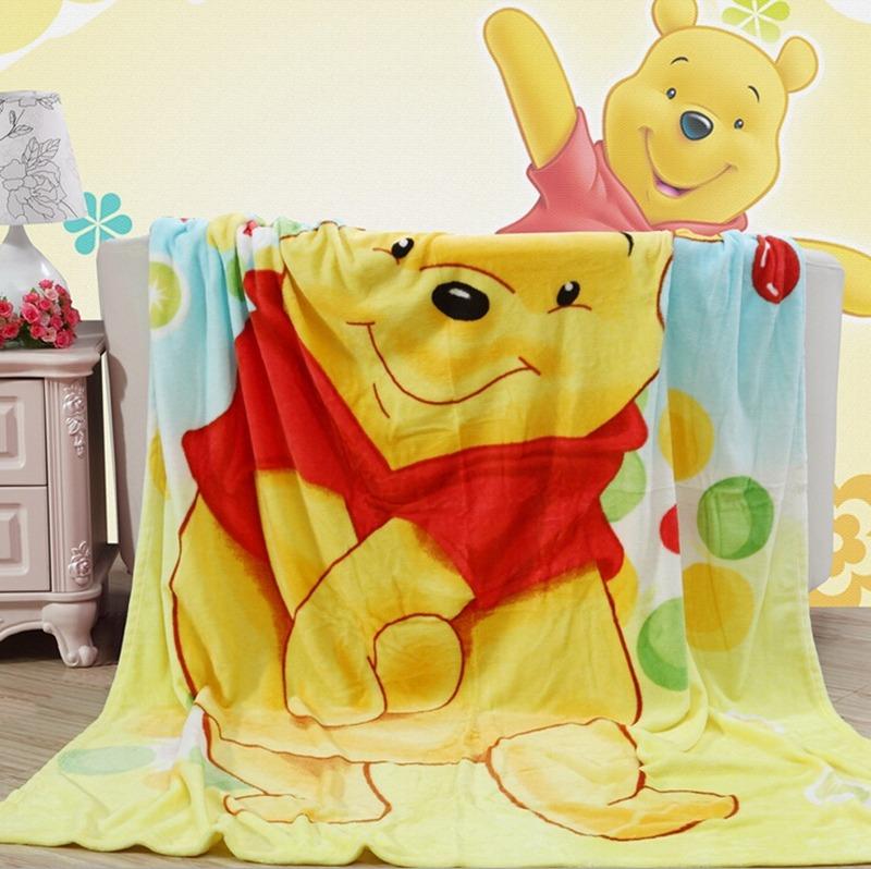 KAWAII Winnie The Pooh Plush Soft Silky Flannel Blanket Throw Interesting Kawaii Throw Blanket