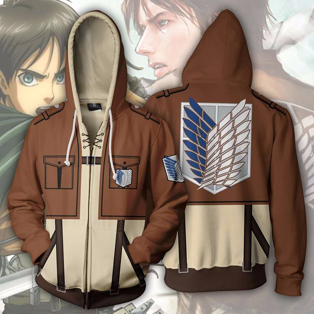 Attack On Titan 3D Printed hoodie Sweatshirt Zip Up jacket  Cosplay Costume