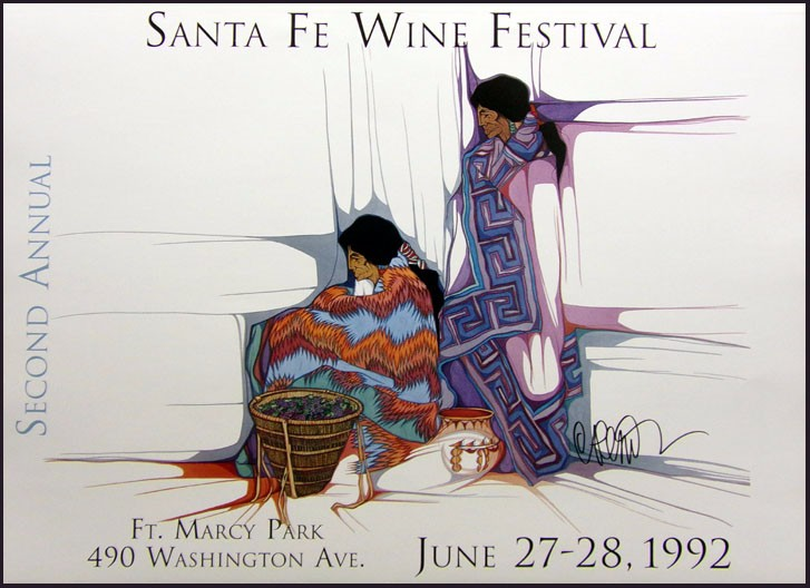 "Amado Pena /""Santa Fe Wine Festival/""offset lithograph HAND SIGNED"