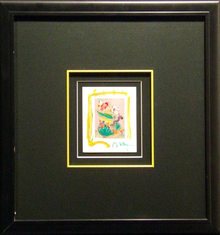 Peter Max Vase Of Flowers Mix Media Lithograph Art Custom Framed