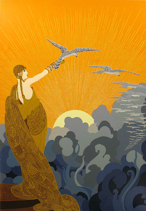 erte wings of victory hand signed numbered serigraph art art deco