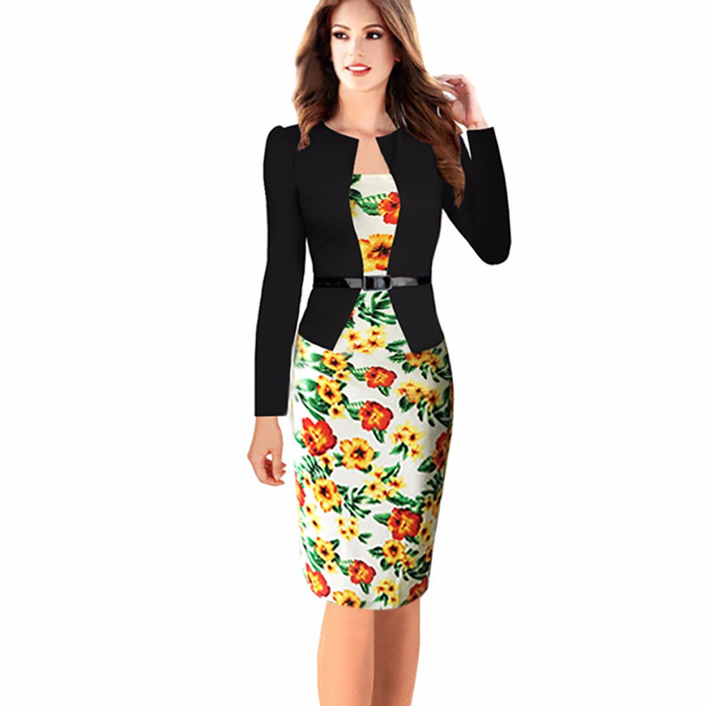 Elegant Damen Blumen Kleid Langarm Business Cocktailkleid Etuikleid ...