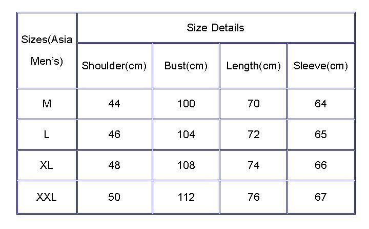 Mens overcoat size chart