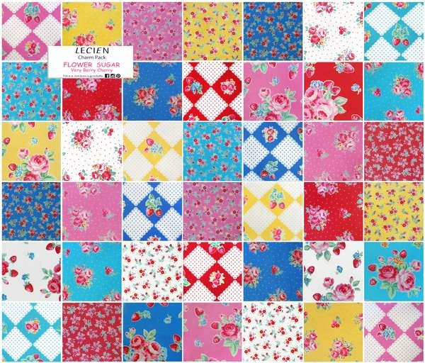 "40 4/"" FLORAL FLARE Fabric Quilt Squares Quilting Pink Aqua Blue Flower Material"