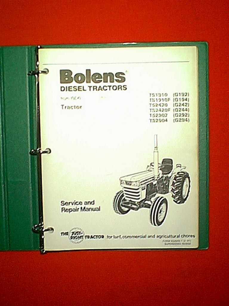 BOLENS ISEKI DIESEL 2 AND 4 WHEEL DRIVE TRACTOR MODELS G192 G194 G242 G244  G292 G294 LARGE SHOP SERVICE AND REPAIR MANUAL IN BINDER