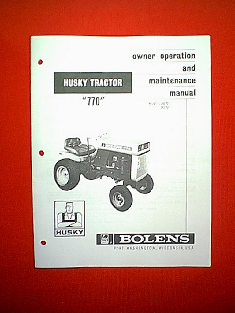 BOLENS HUSKY 770 TRACTOR MODELS 160-01 & 161-01 OWNER'S MANUAL 2-68