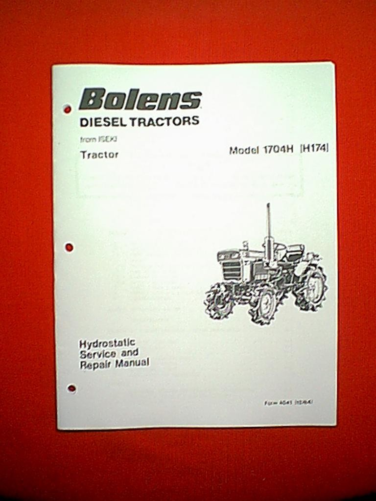BOLENS ISEKI DIESEL TRACTOR MODEL 1704H ( H174 ) HYDROSTATIC SERVICE AND  REPAIR MANUAL