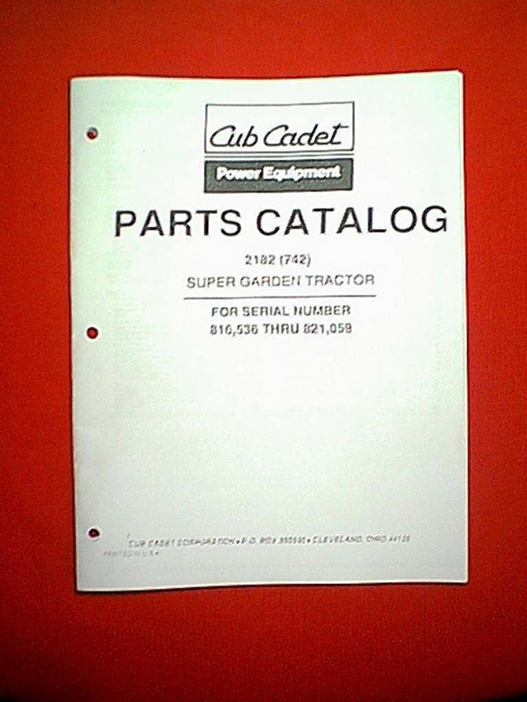 Cub Cadet Super Garden Tractor Model 2182 742 Parts Manual Ser Mower Deck Diagram Serial Number 816536 Thru 821059