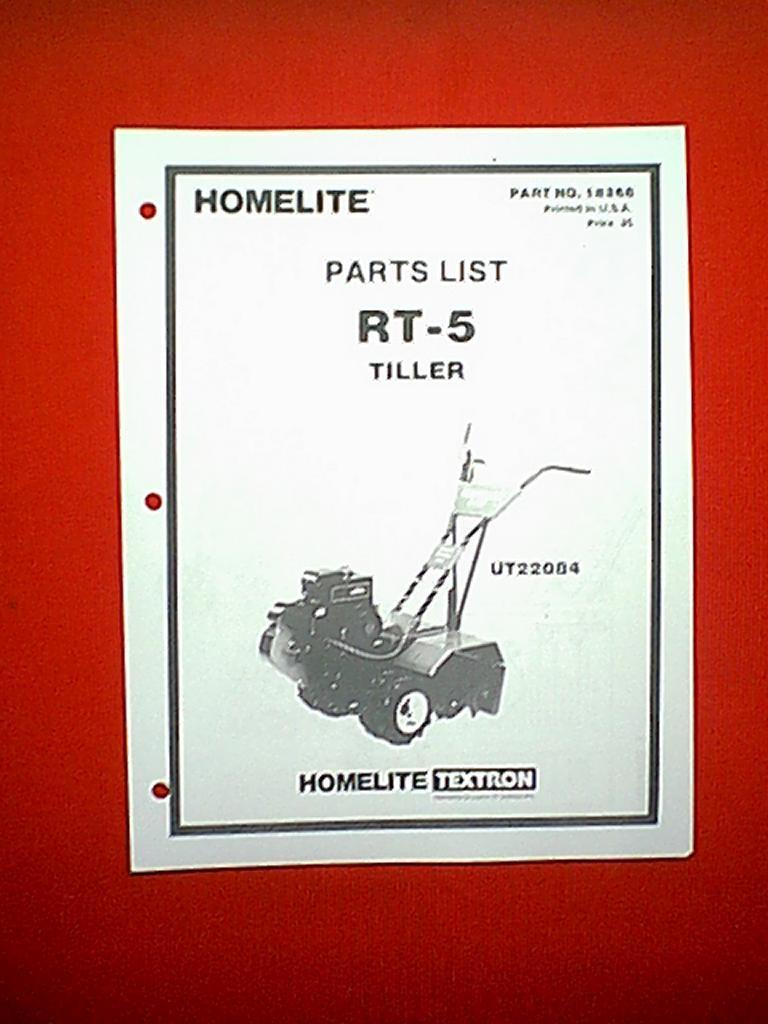 HOMELITE REAR TINE ROTO TILLER MODEL RT-5 PARTS MANUAL