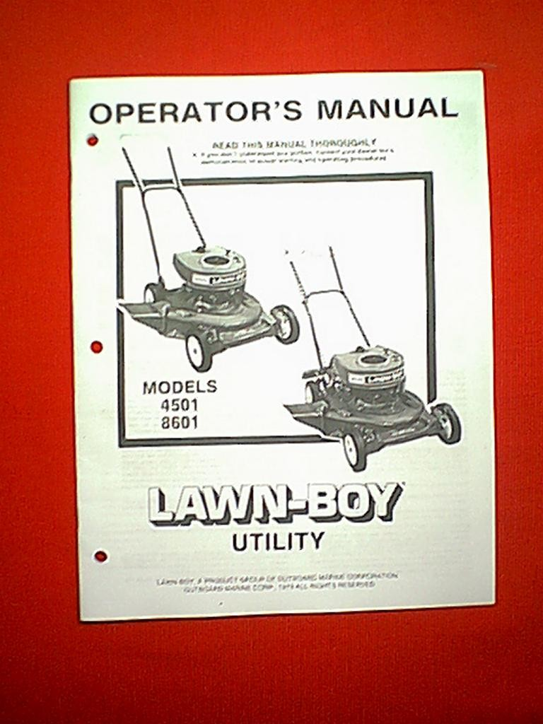 LAWN BOY UTILITY MOWERS MODELS 4501 & 8601 OWNER SERVICE PARTS MANUAL 1979