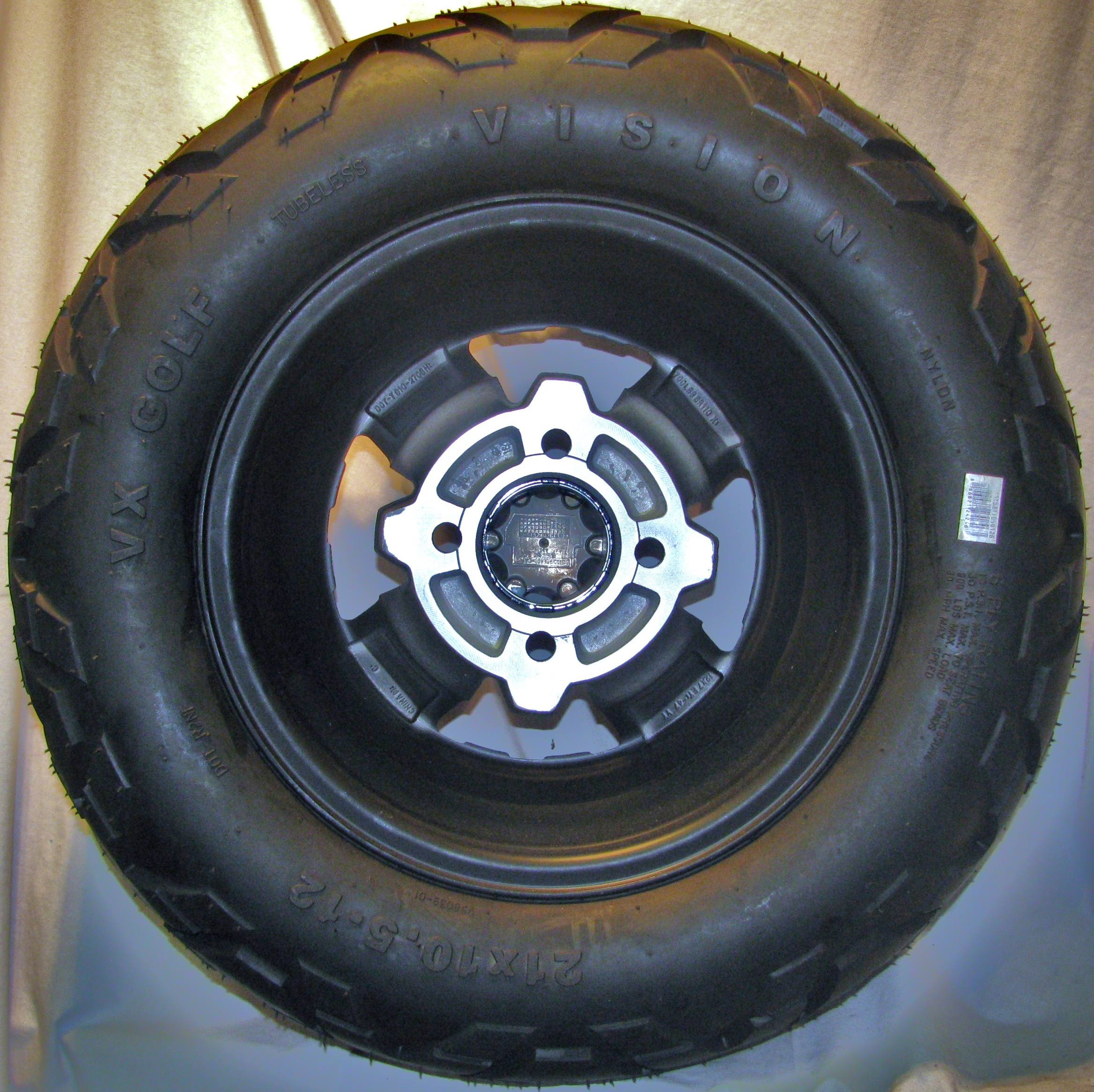 21x10 5 12 21 10 5 12 Golf Cart Mini Truck Tire Wheel Assembly Black Rock