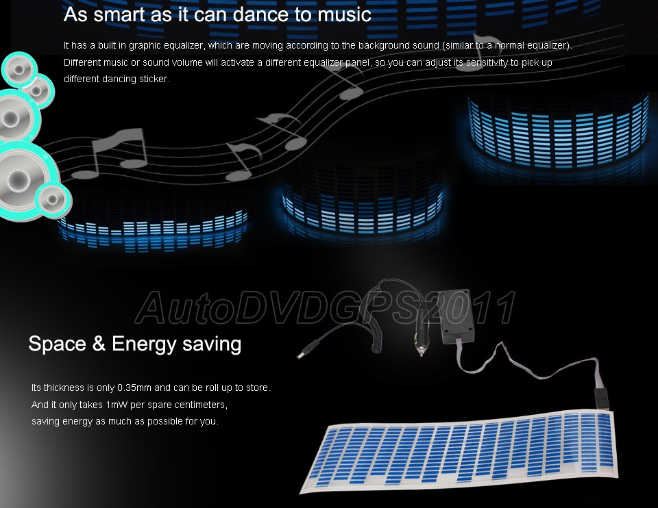 Sound Music Activated Car Stickers Equalizer Glow Dark Blue Light Hot