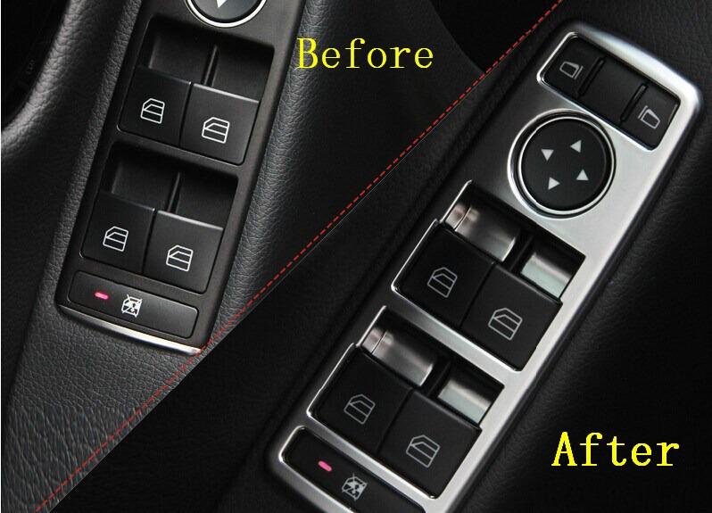 Matt Chrome Door Window button panel frame trim BENZ CLA W117 CLS W218 GLK X204