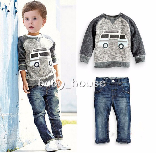 2pcs baby boys GIRLS clothes tracksuit daily spring fall outfits top+pants set