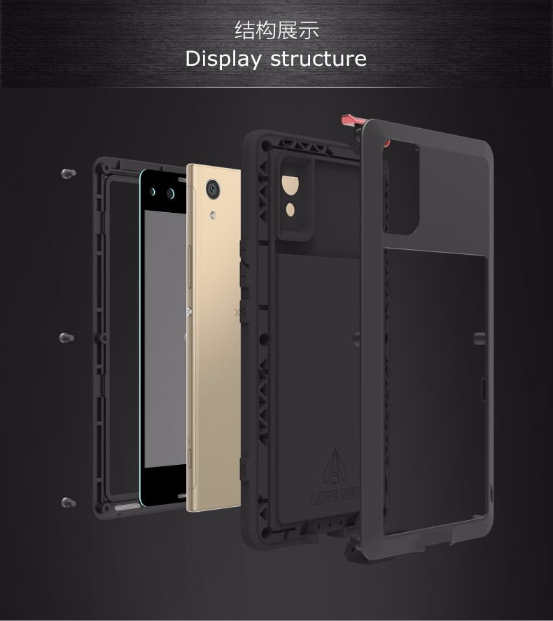new product 20059 99e0d LOVE MEI Metal Waterproof Shockproof Case Cover for SONY Xperia XA1 ...