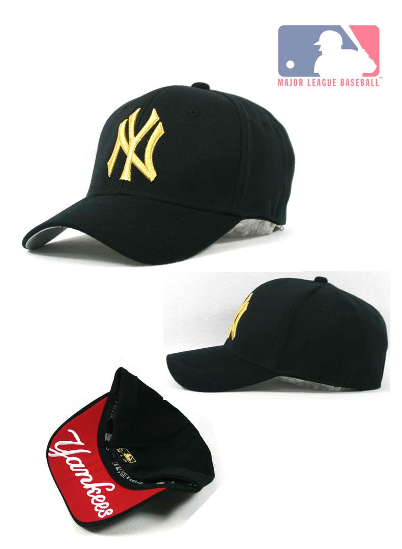 f6c1227b56aa1 New York Yankees Team Baseball Cap Black Cap with Gold Color Logo NY06