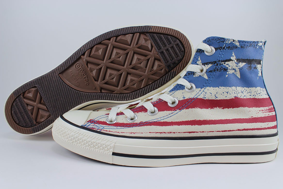 c3807cd783c0 Details about CONVERSE ALL STAR CHUCK TAYLOR HI OFF WHITE RED BLUE US USA  AMERICAN FLAG MEN SZ