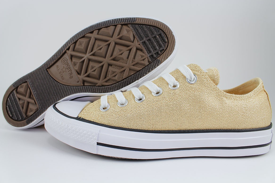 51ea5ef18d56 Details about CONVERSE ALL STAR CHUCK TAYLOR GLITTER OX LIGHT TWINE GOLD/WHITE  SPARKLE WOMENS