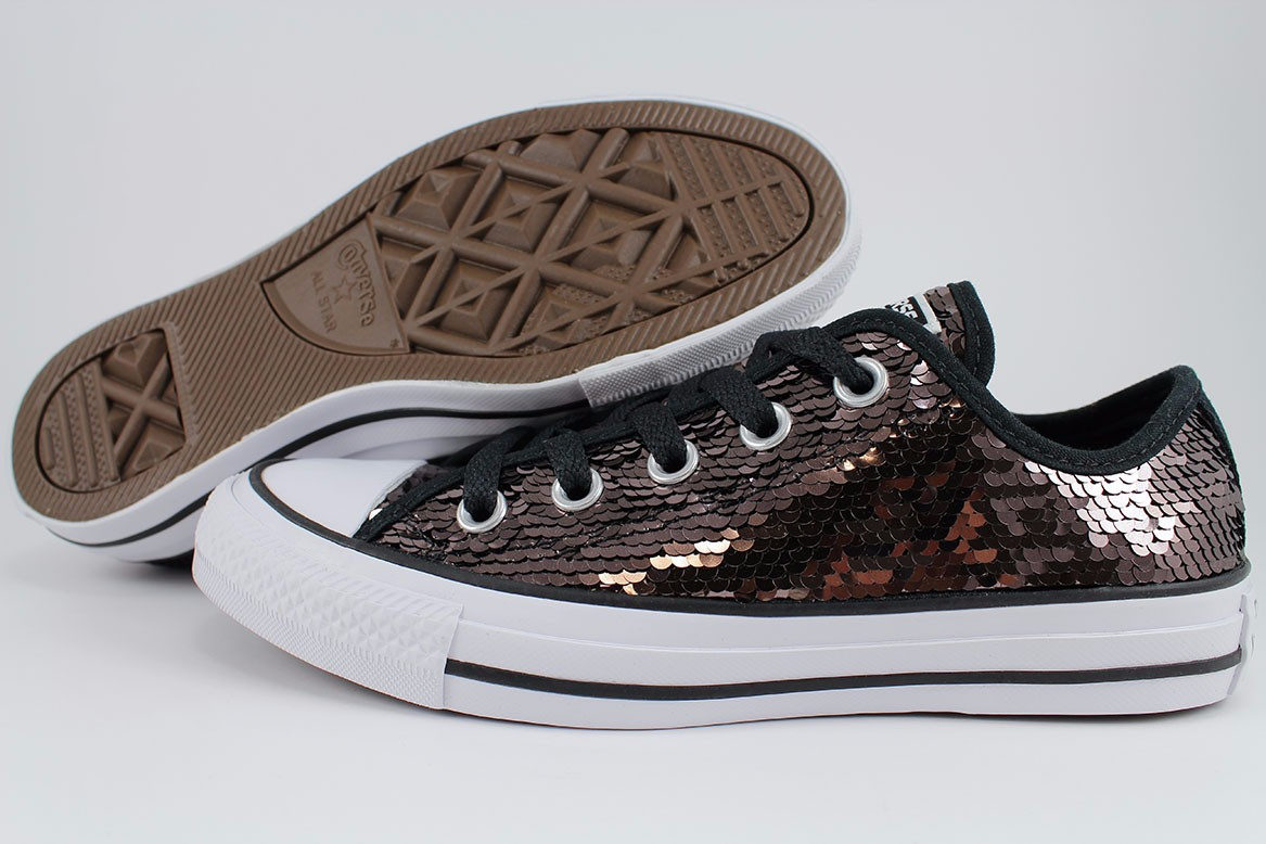9f8b9b7f1820ee Details about CONVERSE ALL STAR CHUCK TAYLOR SEQUIN OX GUNMETAL GRAY WHITE  BLACK GLITTER WOMEN
